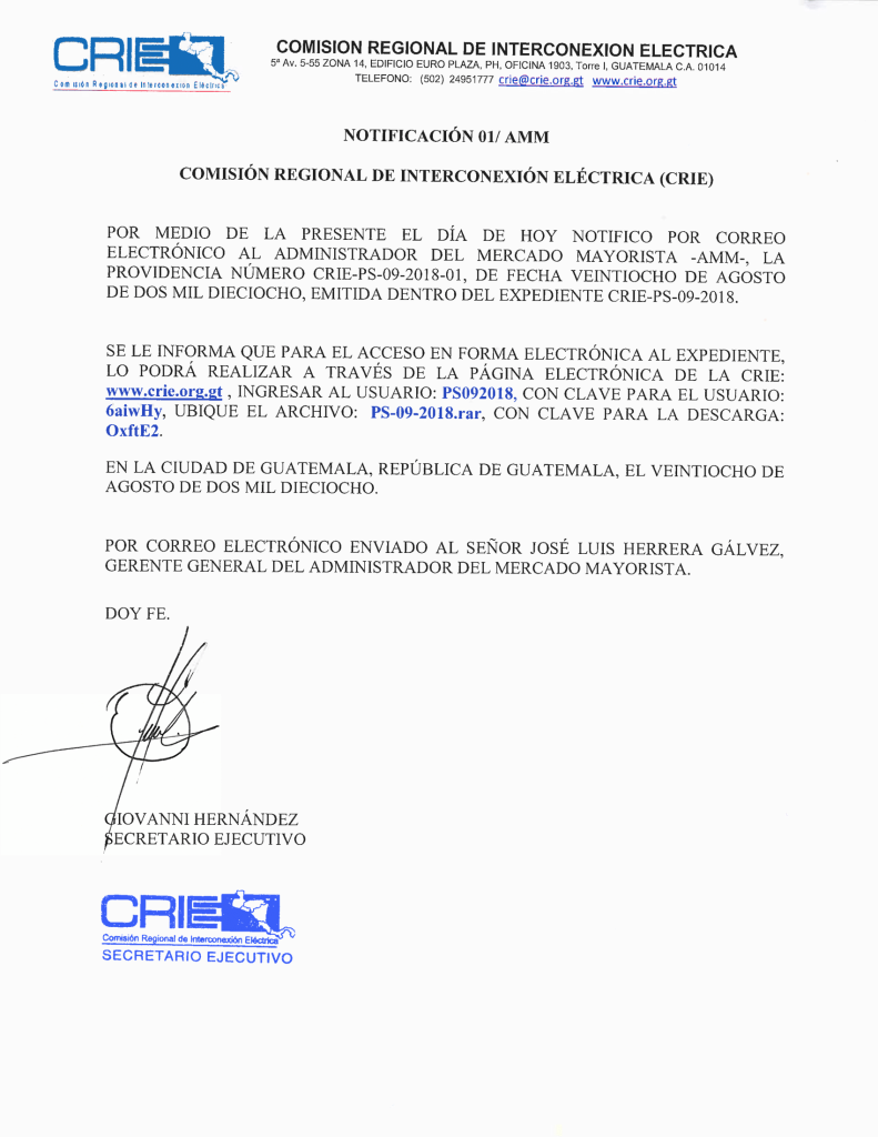 Prov. CRIE-PS-09-2018-01 CRIE a AMM formación de sancionatorio CRIE-PS-09-2018-1