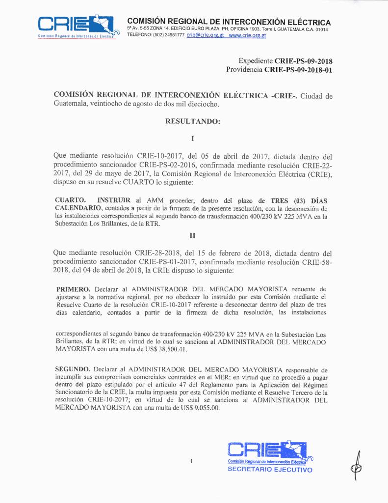 Prov. CRIE-PS-09-2018-01 CRIE a AMM formación de sancionatorio CRIE-PS-09-2018-2