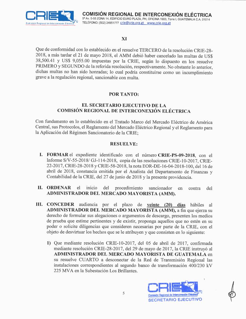 Prov. CRIE-PS-09-2018-01 CRIE a AMM formación de sancionatorio CRIE-PS-09-2018-6