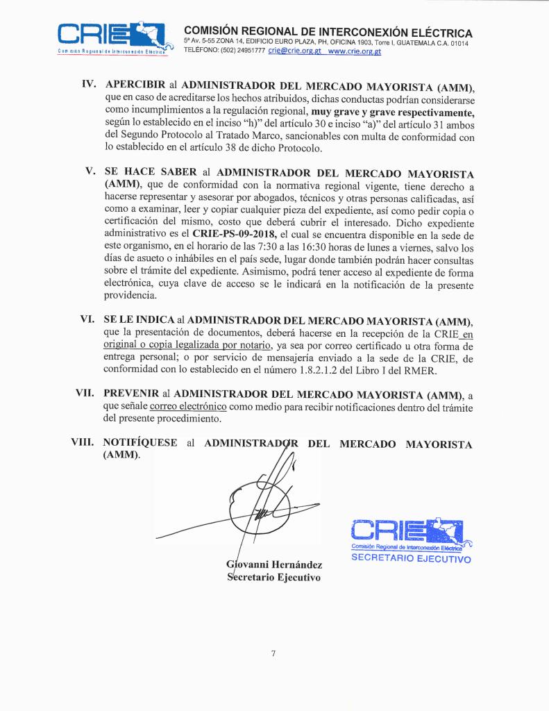 Prov. CRIE-PS-09-2018-01 CRIE a AMM formación de sancionatorio CRIE-PS-09-2018-8